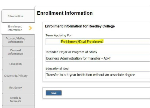 On application type Enrollment / dual Enrollment for Term applying