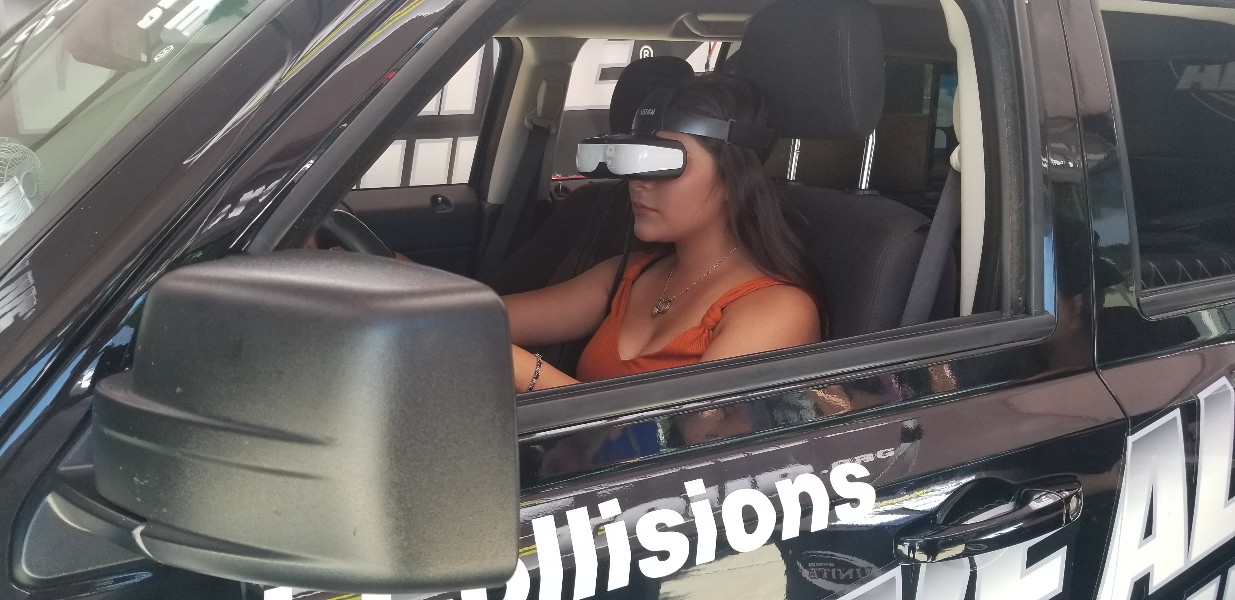 Student tries out the Arrive Alive simulator