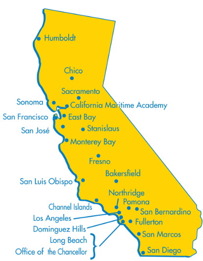 Map of California Showing all CSU's